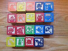 Vtg Wooden Alphabet Blocks Sesame Street Building Blocks Toys Crafts *Lot of 19*