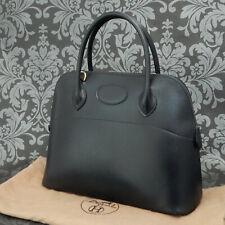 Rise-on Vintage HERMES Bolide 31 Box Calf Leather Navy Handbag Satchel #112
