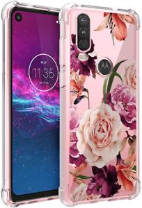 Motorola Moto One Action Case Slim Purple Red Big Rose Sun Flower Women Girls