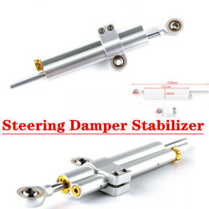 Silver CNC Aluminum Steering Damping Linear Stabilizer For Motorcycle Scooter
