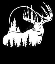 Buck with moon lite background deer hunt Vinyl Decal Sticker Car Truck Window