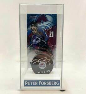 Peter Forsberg Autographed Avalanche Puck w/ Deluxe Display Case LSM COA