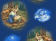 O' HOLY NIGHT CHRISTMAS NATIVITY SCENIC FABRIC METALLIC