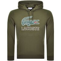Mens Lacoste Hoodie Green Cotton Fleece Pullover Cotton Blend NEW