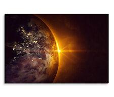 120x80cm Leinwandbild auf Keilrahmen Weltall Planet Erde Sonnenaufgang