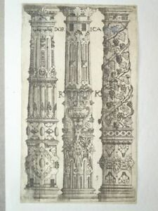 Dorica Säulen Ornamente Barock Pl. 5 Architectura Rutger Kasemann Radierung 1622