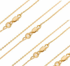18K Solid Yellow Gold Filled Rolo Necklace Chain Rectangle Lobster Clasp