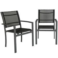 Set di 2 sedie da giardino poltrona campeggio metallo arredo grigio scuro
