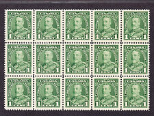 CANADA 1935 SCOTT 217 - KING GEORGE V PICTORIAL ISSUE 1¢ GREEN BLOCK OF 15 - MNH