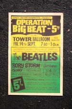 Beatles Tour poster 1962 Tower Ballroom #2 Rory Storm Hurica