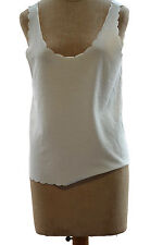 Topshop Women's White Scallop Vest Crop Top Basic Knit Shell Career Size 8