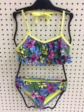 Roxy Girls Halter Flutter 2 Pc Tankini Swimsuit Hot Tropics Sz 14