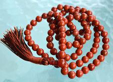 Red Jasper and Carnelian Handmade Japa Mala Beads Necklace 8mm 108+1 Beads
