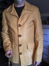 mens large vintage Spokane Glove custom deer buckskin leather button jacket
