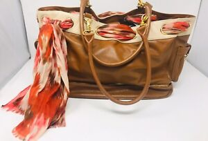 """Nest Grommet Diaper Bag Brown Tan With Scarf 15"""" X 12"""" X 7""""removable Lining"""
