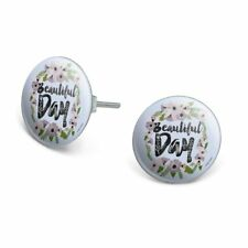 Novelty Silver Plated Stud Earrings Beautiful Day Flowers Wedding Bridal Shower