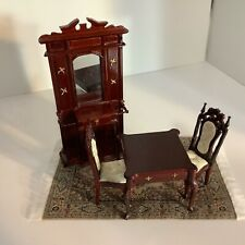 Dollhouse Miniatures Mahogany New Furniture Lot Table, 2 Chairs, Hall Cabinet, C