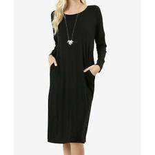 e1abfa251cd Zenana Premium Dress Large Long Sleeve Black Drop Shoulder Rayon Side  Pockets