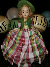 "1950s Storybook Doll 7"" Hard Plastic Vtg Jointed Arm Plaid Dress Green Beret Eye"