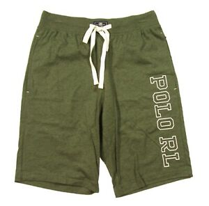 Polo Ralph Lauren Men's Moss Green Heather Solid Logo Print Cotton Sleep Shorts