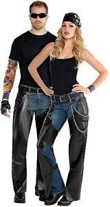 Dark Side Biker Chaps Mens Ladies Unisex Fancy Dress Costume Outfit Leather 1980