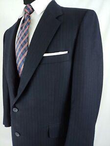 Samuelsohn Navy Blue Thick Wool Pinstripe 2pc 2Button Suit Mens Size 40S 35x27