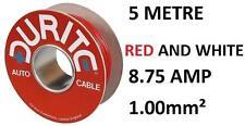 Núcleo Individual 1mm PVC CABLE COCHE 5 metros Durite 0-942-75 rojo y Blanco