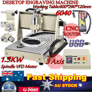 3Axis 1.5KW CNC 6040 USB Router Engraver Machine Drill Woodwork Cutting + Remote