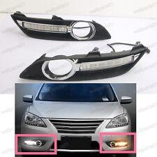 2X LED Daytime Running Light Driving Fog Lamp White For Nissan Sylphy 2013-2015