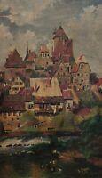 German Signed L Saner - Medieval City With River