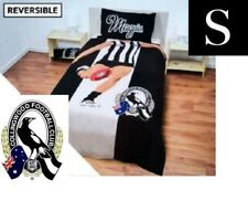 SINGLE BED AFL COLLINGWOOD MAGPIES REVERSIBLE QUILT DOONA COVER + PILLOWCASE