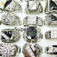 25pcs Rhinestones Men Silver Plated Rings Alloy Wholesale Lots Mix Jewelry BPF