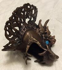 Bronze Copper Chinese Dragon head Amulet bust Statue