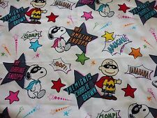 """PEANUTS SNOOPY CHARLIE BROWN PATTERN COTTON FABRIC HALLOWEEN WHITE 19"""" X 27"""