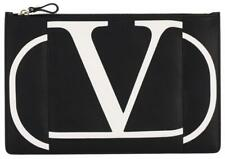 NEW VALENTINO GARAVANI V LOGO BLACK LEATHER ZIP CLUTCH BAG W/BOX