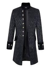 DarcChic Men Velvet Goth Steampunk Victorian Frock Coat Size Small Brocade Black