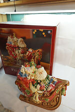 FITZ AND FLOYD CHRISTMAS SANTAS SLEIGH COOKIE JAR 108853 MIB LARGE CENTERPIECE