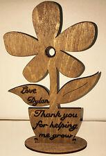 Personalised Wooden Flower With Stand Teacher Child Minder Keepsake Gift School