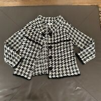 Carducci Black & White Check Houndstooth Women Mohair Wool Sweater Jacket Size M