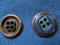 24 alte Metallknöpfe, 18 mm Durchmesser, Türkis Blau Schwarz - Raute