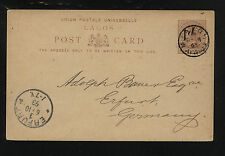 Lagos revalued postal card to Germany 1893 Ms0604