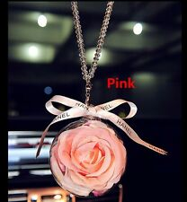 Pink Crystal Flower Ball Car Mirror Pendant Jewelry Decor Hanging Ornament