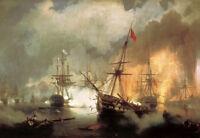 "Oil painting Ivan Constantinovich Aivazovsky - Battle of Navarino canvas 24""x36"""