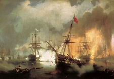 "Oil painting Ivan Constantinovich Aivazovsky - Battle of Navarino canvas 24""x36"""