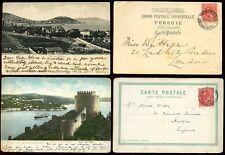 TURKEY LEVANT BRITISH P.O 1902 + 1904 GB KE7 1d FRANKING on EARLY PPCs...2 CARDS