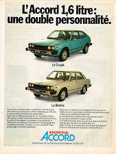 PUBLICITE ADVERTISING 025  1978  HONDA    ACCORD   coupé  & Berline