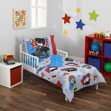 DC Comics Justice League 4pc Toddler Bedding Set, Gray