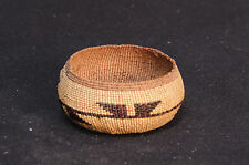"MINT c1920 N. California Antique Yurok Basket: Frog's Hand Motif  1.75 x 4.5"" d."