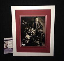 BOB PROBERT SIGNED MATTED & FRAMED DETROIT RED WINGS BIKER 8x10 PHOTO JSA COA