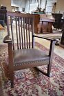 Antique Mahogany Leather Upholstered Rocking Chair, Rocker